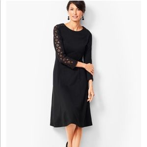 LACE SLEEVE PONTE FIT & FLARE DRESS